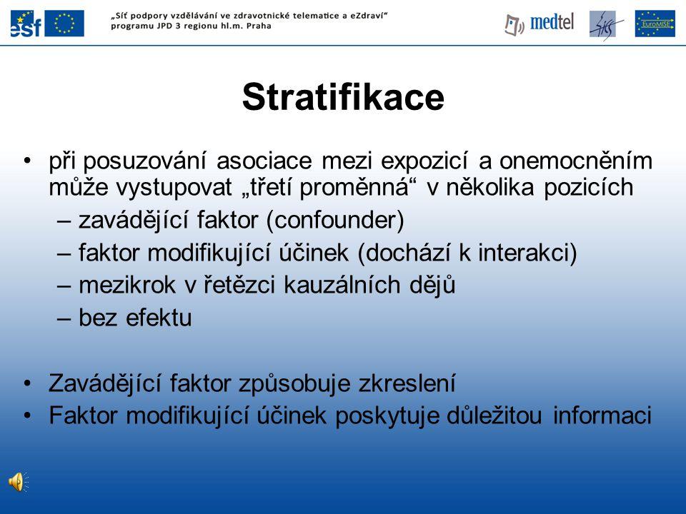 """Stratifikace při posuzování asociace mezi expozicí a onemocněním může vystupovat """"třetí proměnná v několika pozicích."""