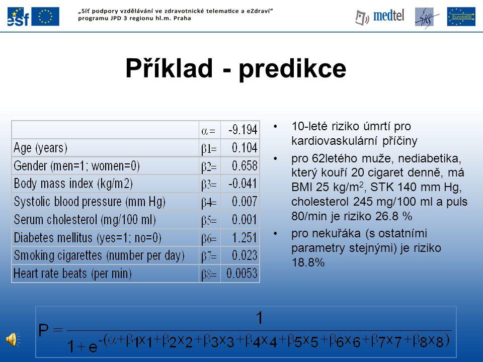 Příklad - predikce 10-leté riziko úmrtí pro kardiovaskulární příčiny