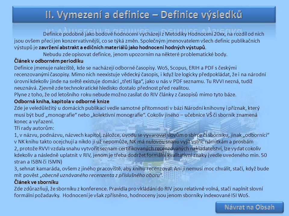 II. Vymezení a definice – Definice výsledků