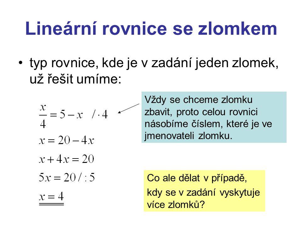 Lineární rovnice se zlomkem