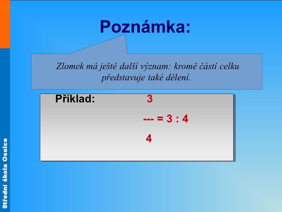 Poznámka: Zlomek má ještě další význam: kromě částí celku představuje také dělení. Příklad: 3.