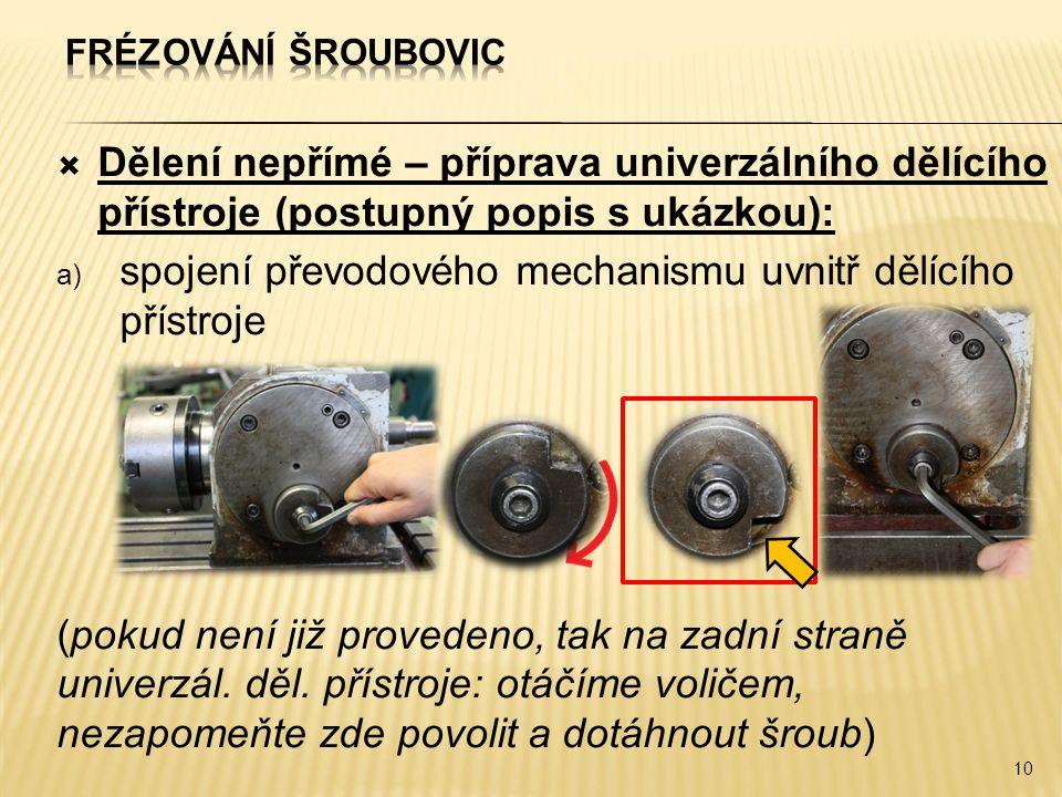spojení převodového mechanismu uvnitř dělícího přístroje
