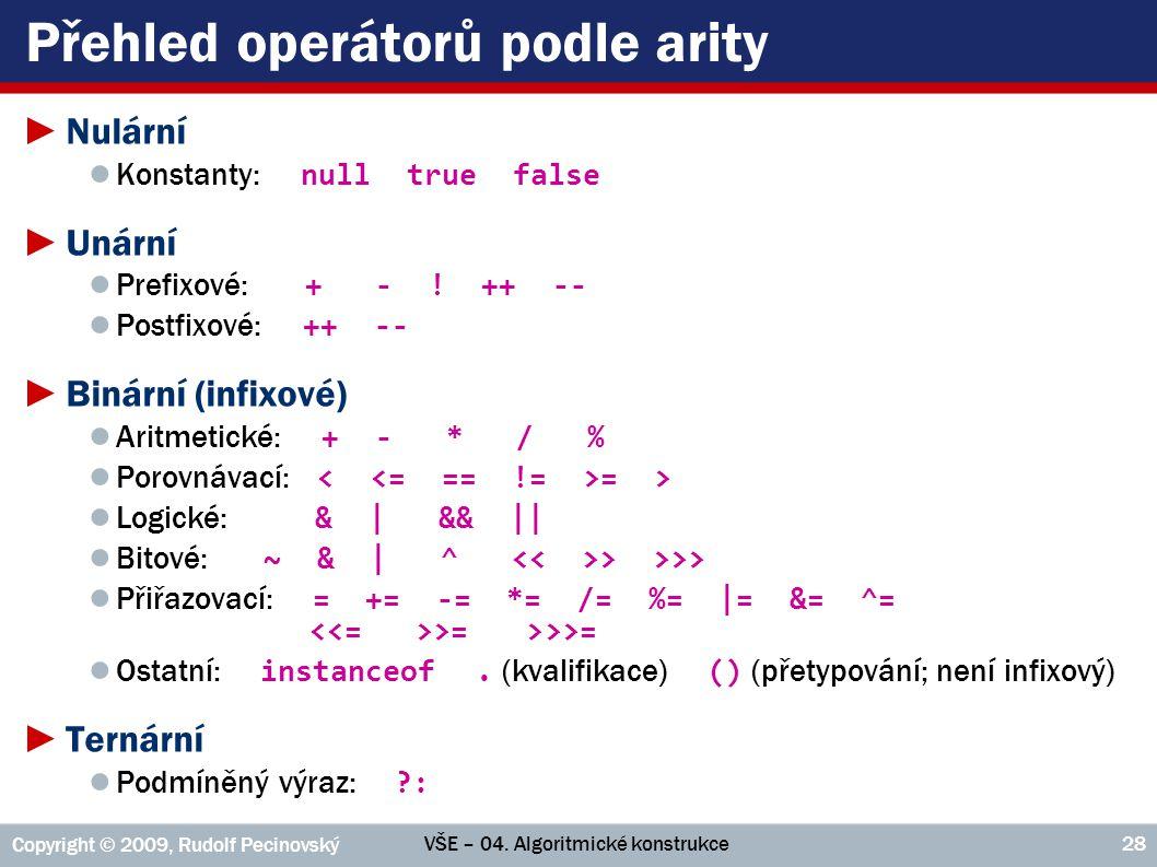 Přehled operátorů podle arity