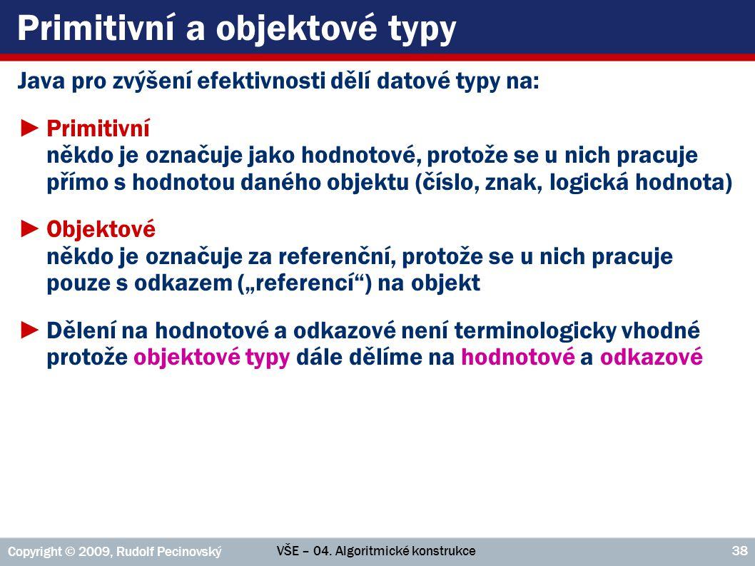 Primitivní a objektové typy
