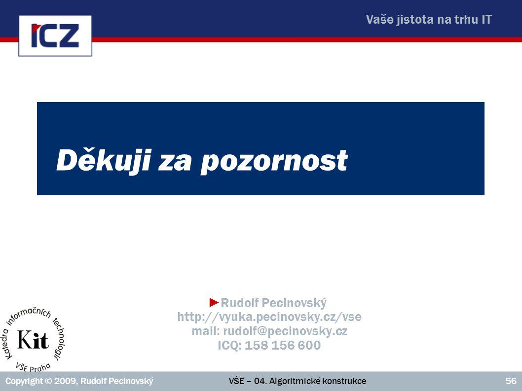 Děkuji za pozornost Rudolf Pecinovský http://vyuka.pecinovsky.cz/vse mail: rudolf@pecinovsky.cz ICQ: 158 156 600.