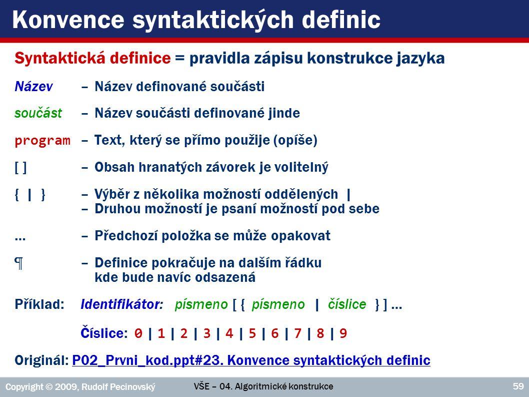 Konvence syntaktických definic
