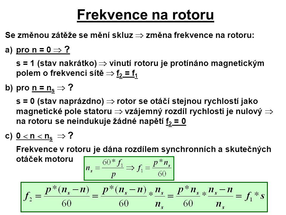 Frekvence na rotoru Se změnou zátěže se mění skluz  změna frekvence na rotoru: a) pro n = 0 