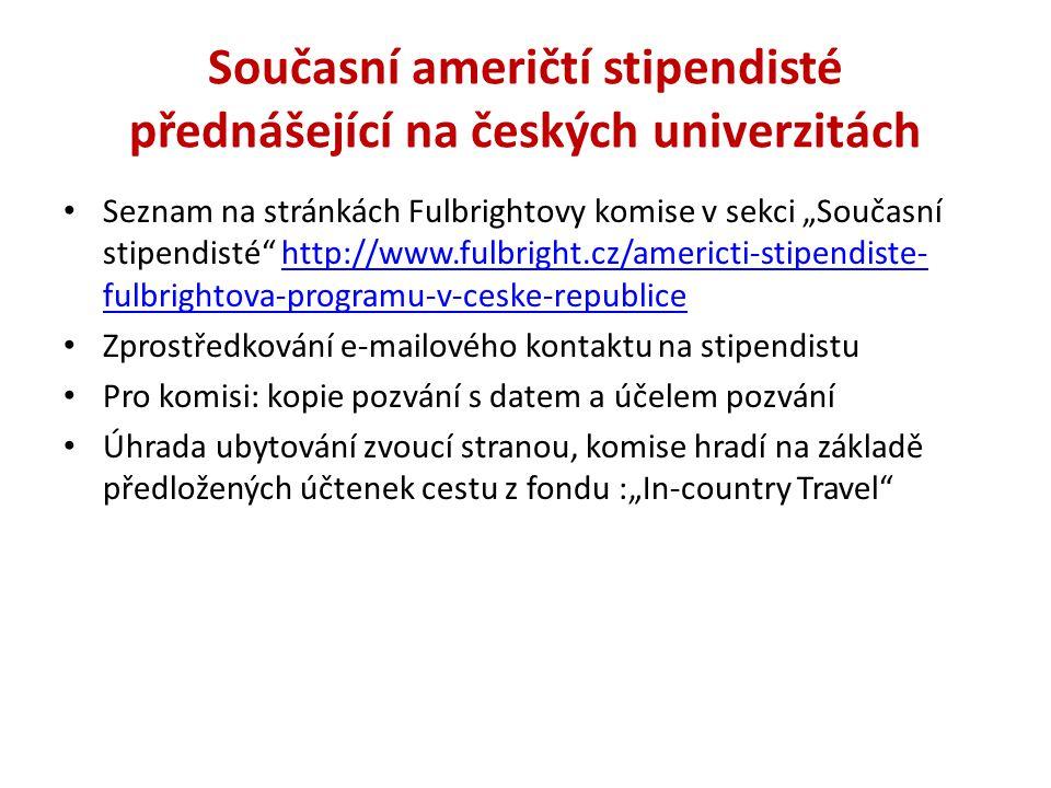 Současní američtí stipendisté přednášející na českých univerzitách