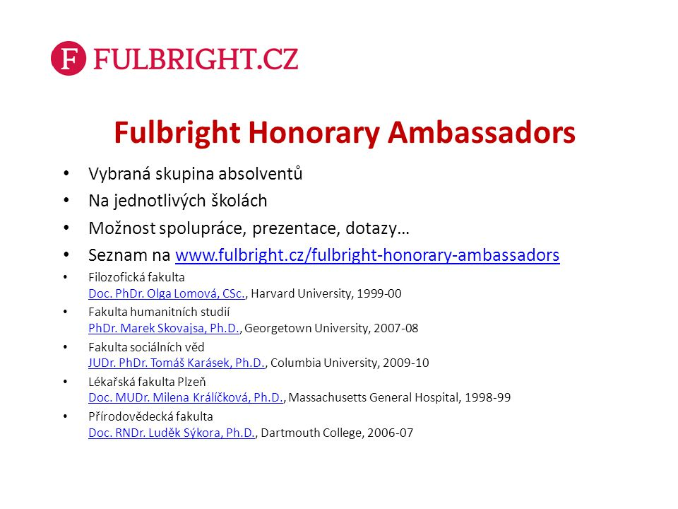 Fulbright Honorary Ambassadors