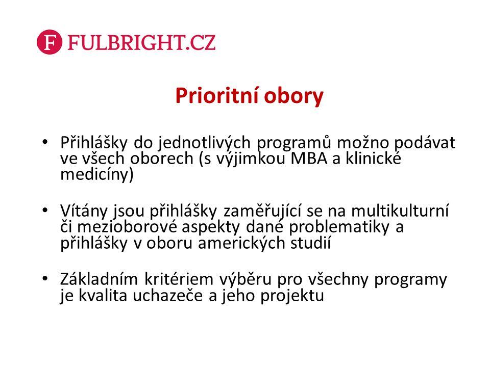 Prioritní obory Přihlášky do jednotlivých programů možno podávat ve všech oborech (s výjimkou MBA a klinické medicíny)