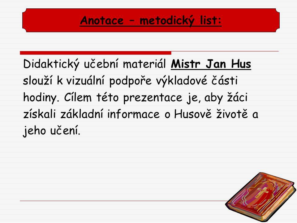 Anotace – metodický list: