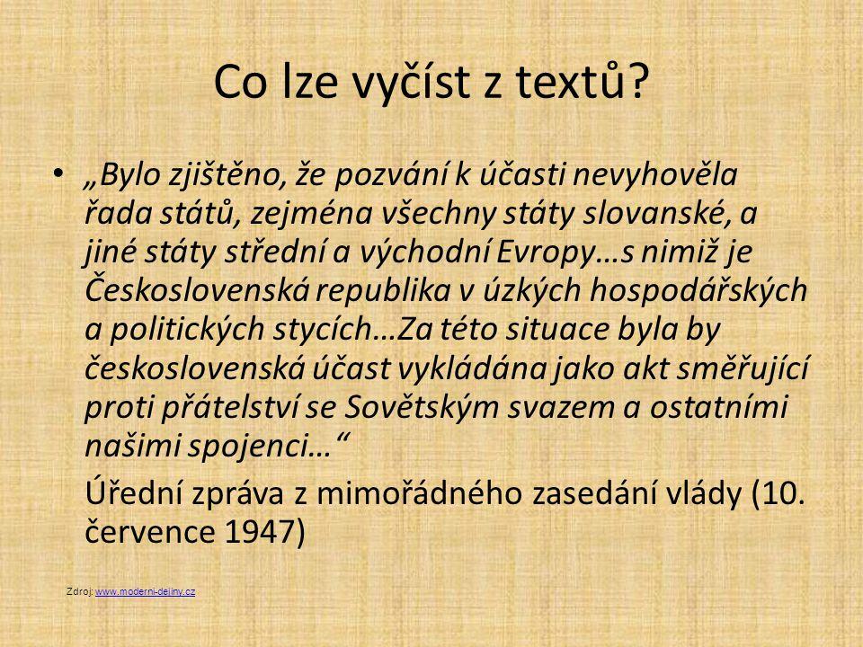 Co lze vyčíst z textů