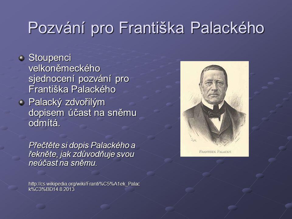 Pozvání pro Františka Palackého