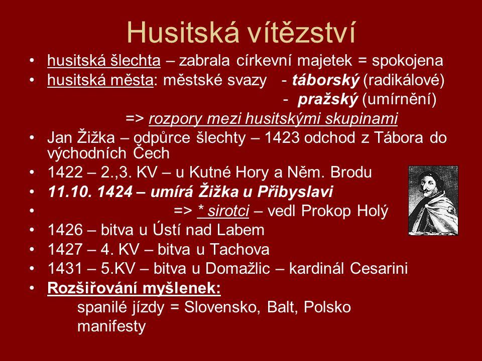 Husitská vítězství husitská šlechta – zabrala církevní majetek = spokojena. husitská města: městské svazy - táborský (radikálové)