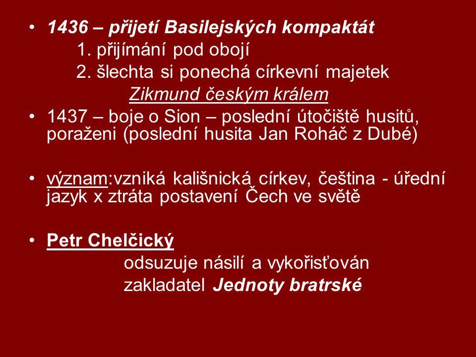 1436 – přijetí Basilejských kompaktát