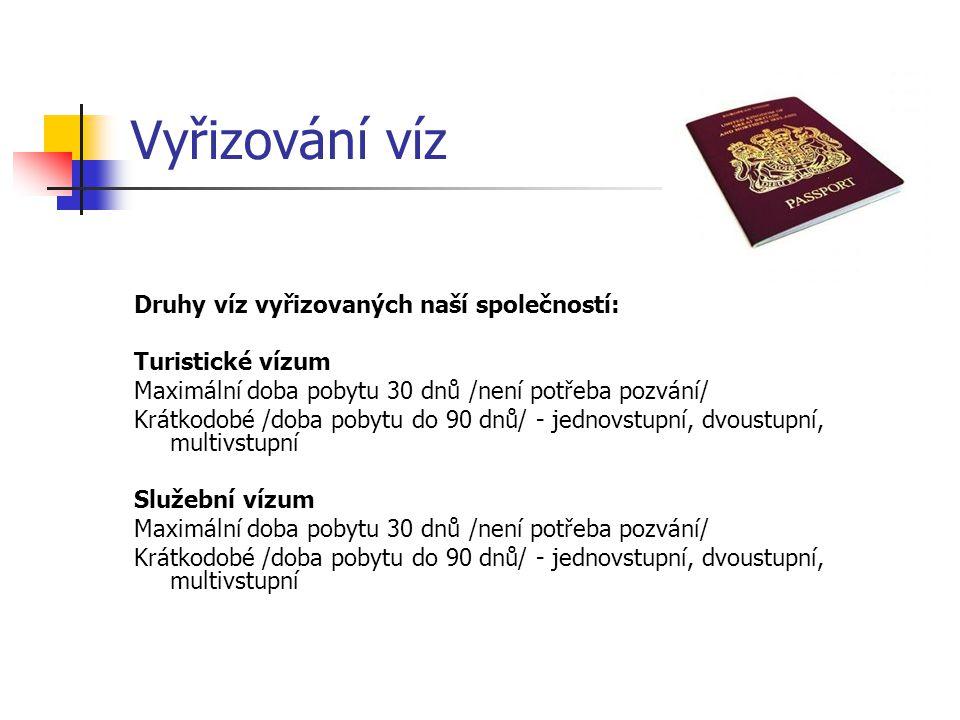 Vyřizování víz Druhy víz vyřizovaných naší společností: