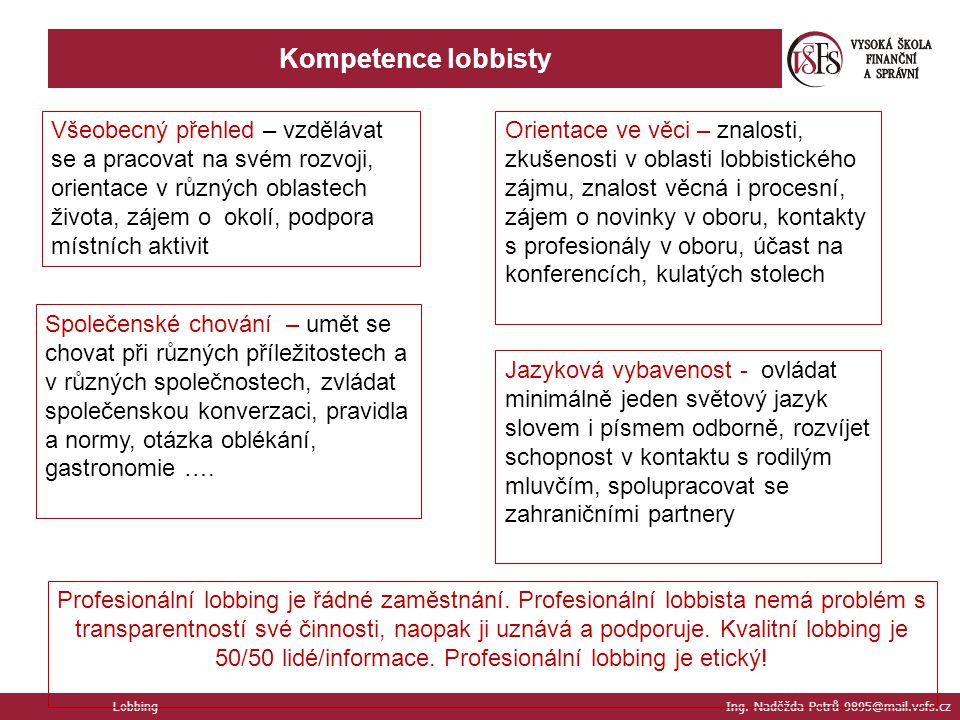 Kompetence lobbisty