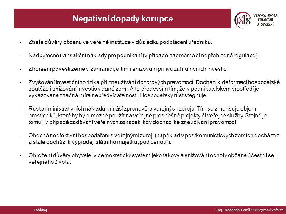 Negativní dopady korupce