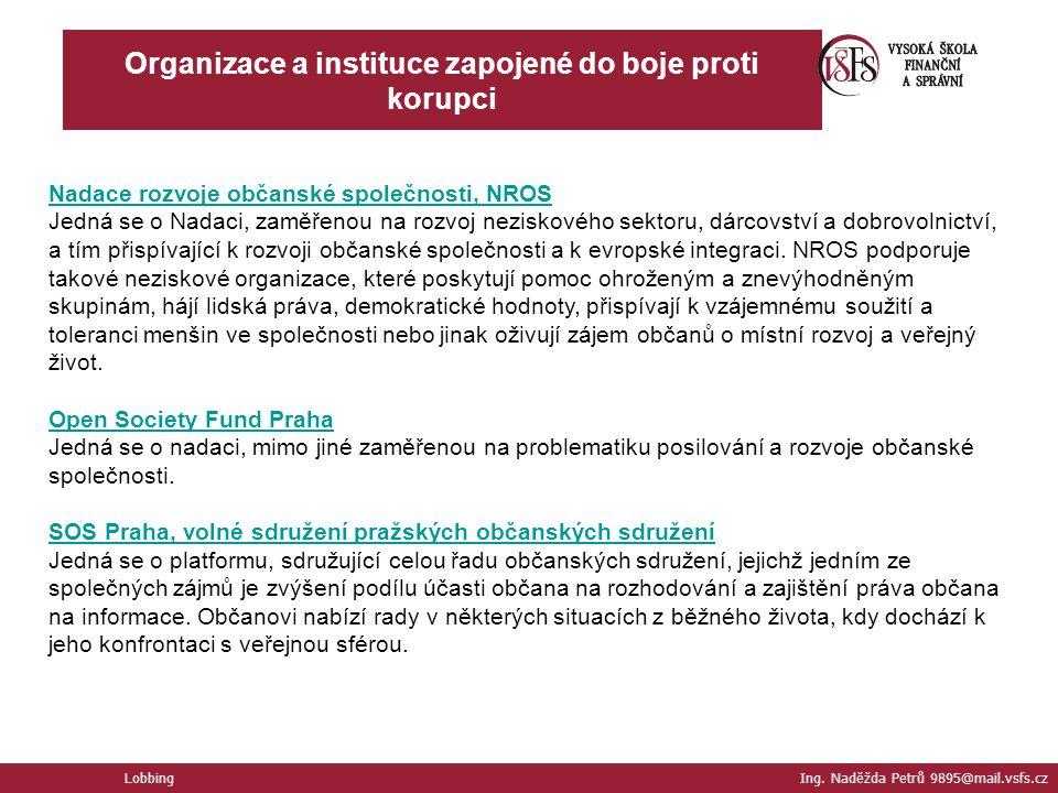 Organizace a instituce zapojené do boje proti korupci