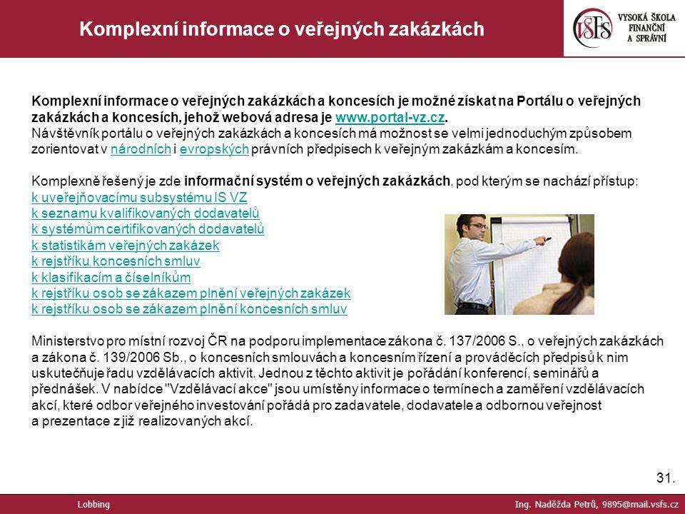 Komplexní informace o veřejných zakázkách