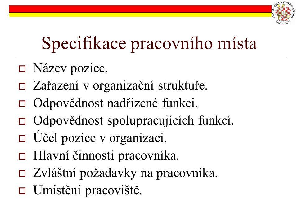 Specifikace pracovního místa