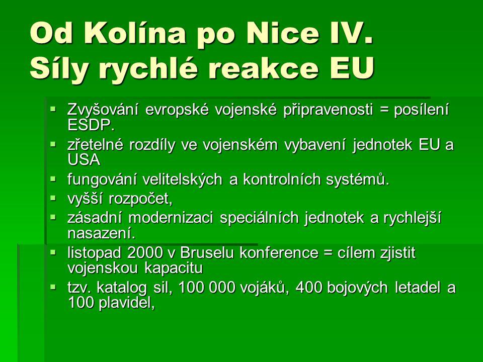 Od Kolína po Nice IV. Síly rychlé reakce EU