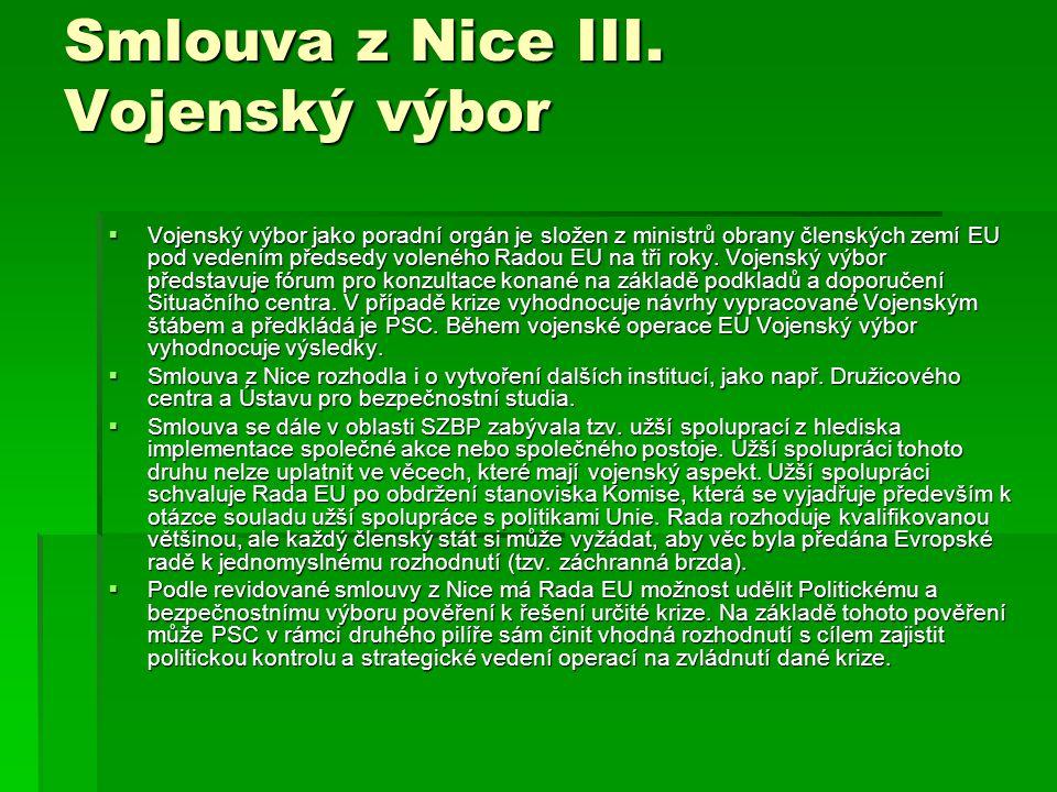 Smlouva z Nice III. Vojenský výbor