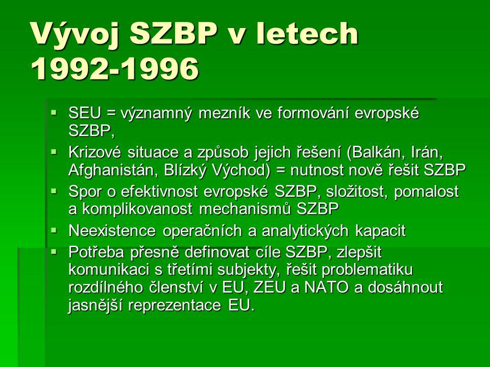 Vývoj SZBP v letech 1992-1996 SEU = významný mezník ve formování evropské SZBP,