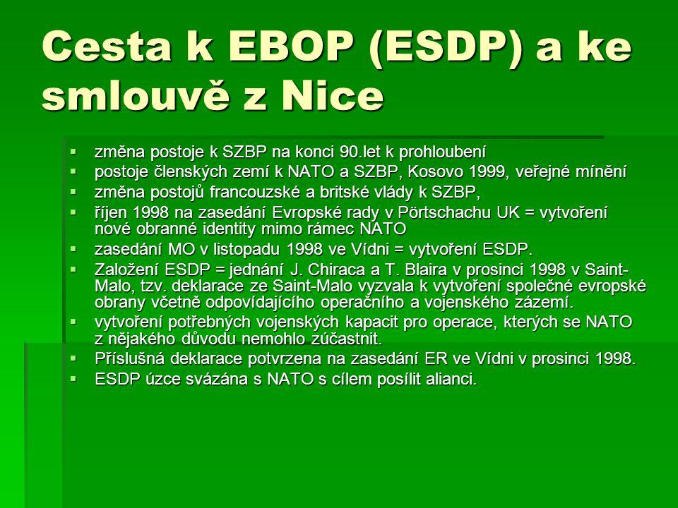 Cesta k EBOP (ESDP) a ke smlouvě z Nice