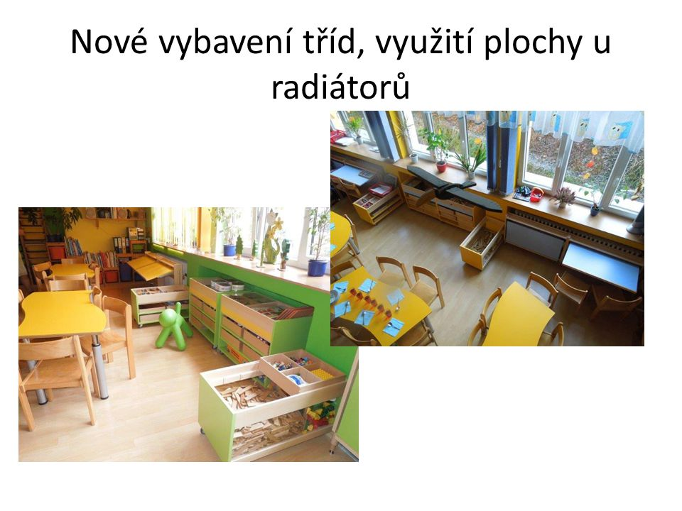 Nové vybavení tříd, využití plochy u radiátorů