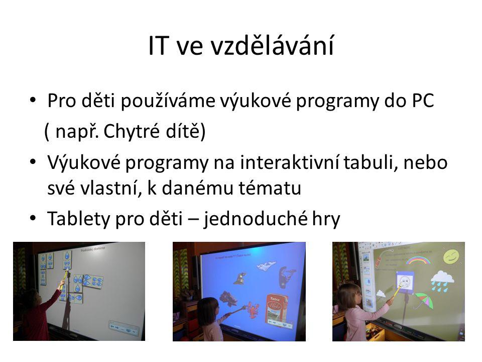 IT ve vzdělávání Pro děti používáme výukové programy do PC