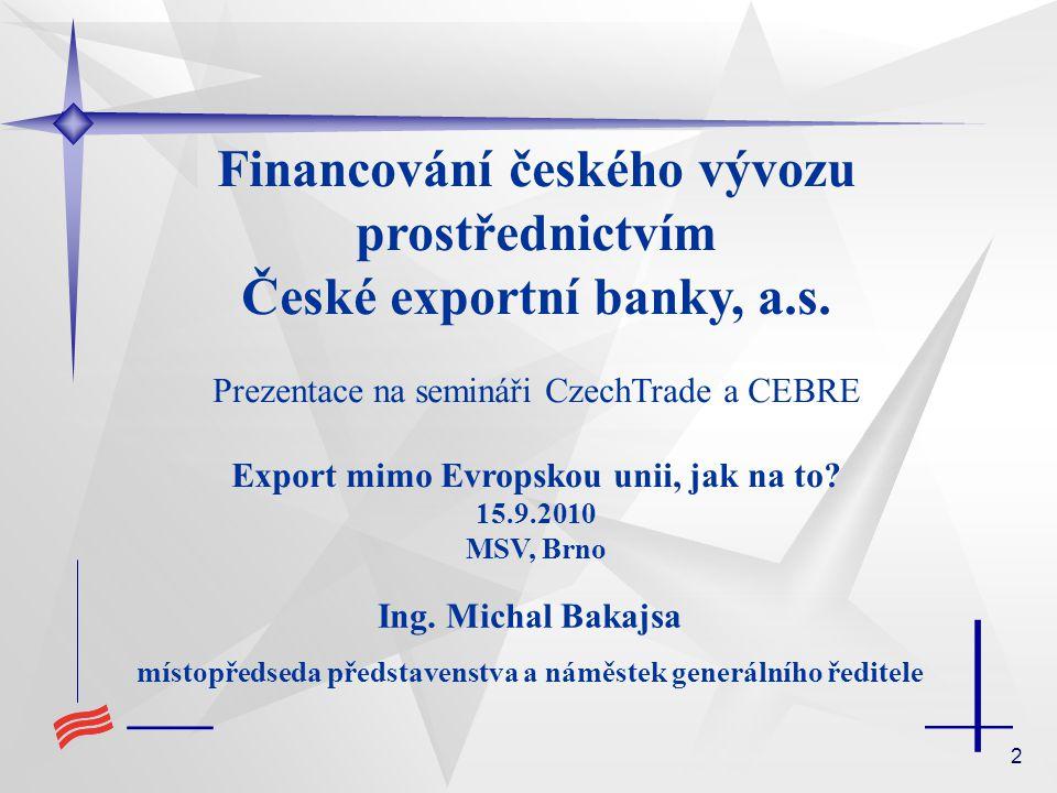 Financování českého vývozu prostřednictvím České exportní banky, a.s.