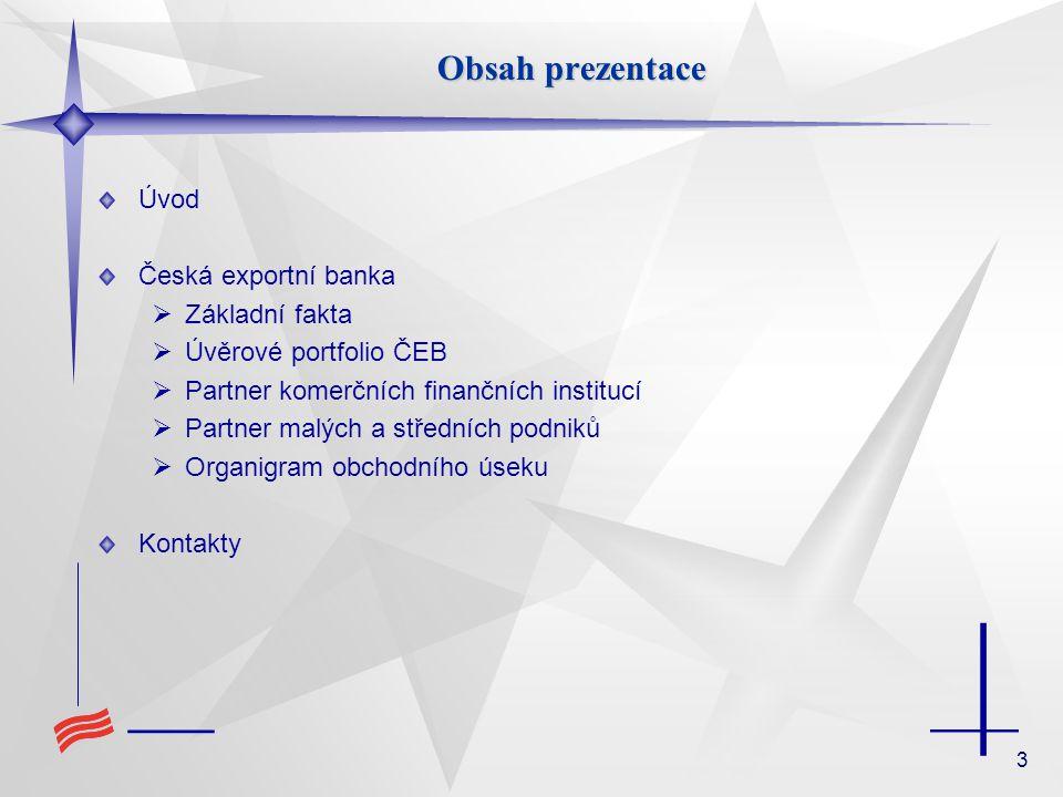 Obsah prezentace Úvod Česká exportní banka Základní fakta