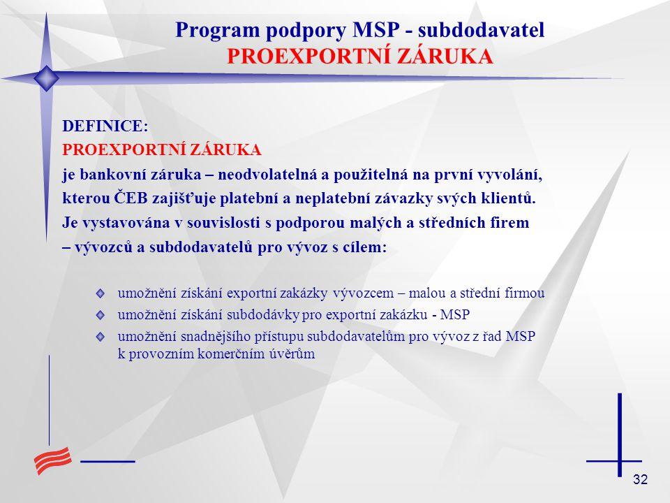 Program podpory MSP - subdodavatel PROEXPORTNÍ ZÁRUKA