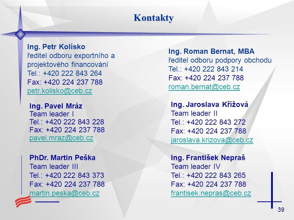 Kontakty Ing. Petr Kolísko ředitel odboru exportního a