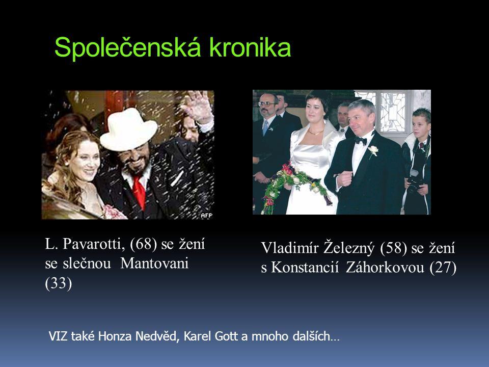 Společenská kronika L. Pavarotti, (68) se žení se slečnou Mantovani (33) Vladimír Železný (58) se žení s Konstancií Záhorkovou (27)
