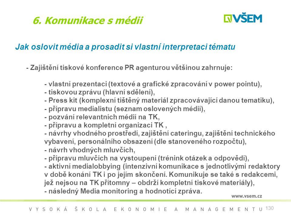 6. Komunikace s médii Jak oslovit média a prosadit si vlastní interpretaci tématu. - Zajištění tiskové konference PR agenturou většinou zahrnuje: