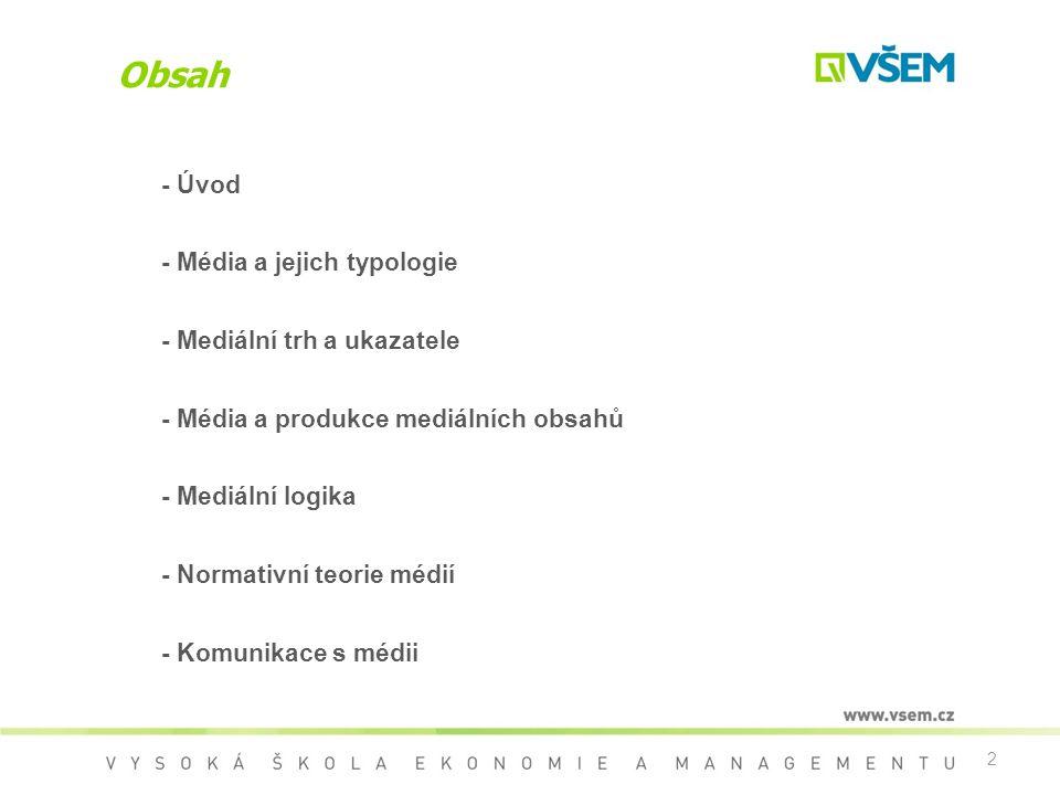 Obsah - Úvod - Média a jejich typologie - Mediální trh a ukazatele