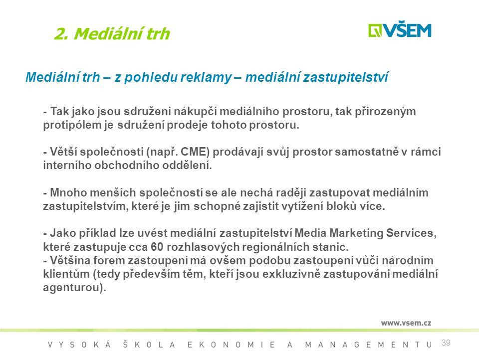 2. Mediální trh Mediální trh – z pohledu reklamy – mediální zastupitelství.