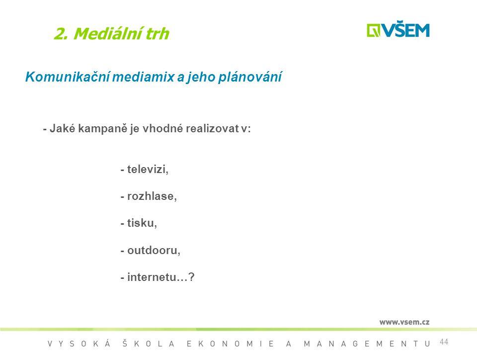 2. Mediální trh Komunikační mediamix a jeho plánování