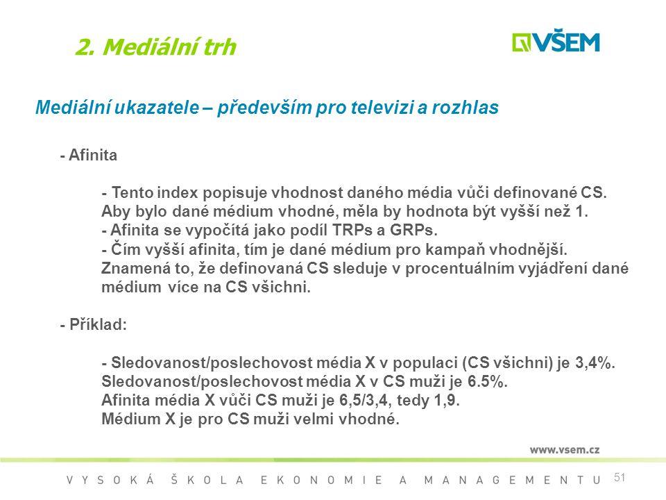 2. Mediální trh Mediální ukazatele – především pro televizi a rozhlas