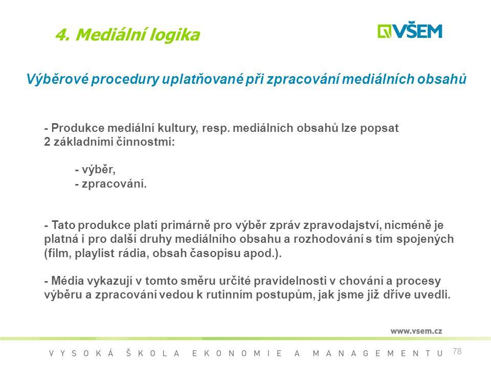 4. Mediální logika Výběrové procedury uplatňované při zpracování mediálních obsahů.