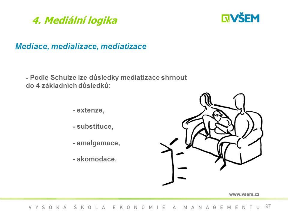 4. Mediální logika Mediace, medializace, mediatizace