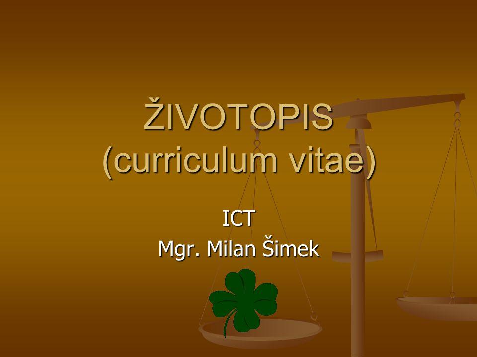 ŽIVOTOPIS (curriculum vitae)