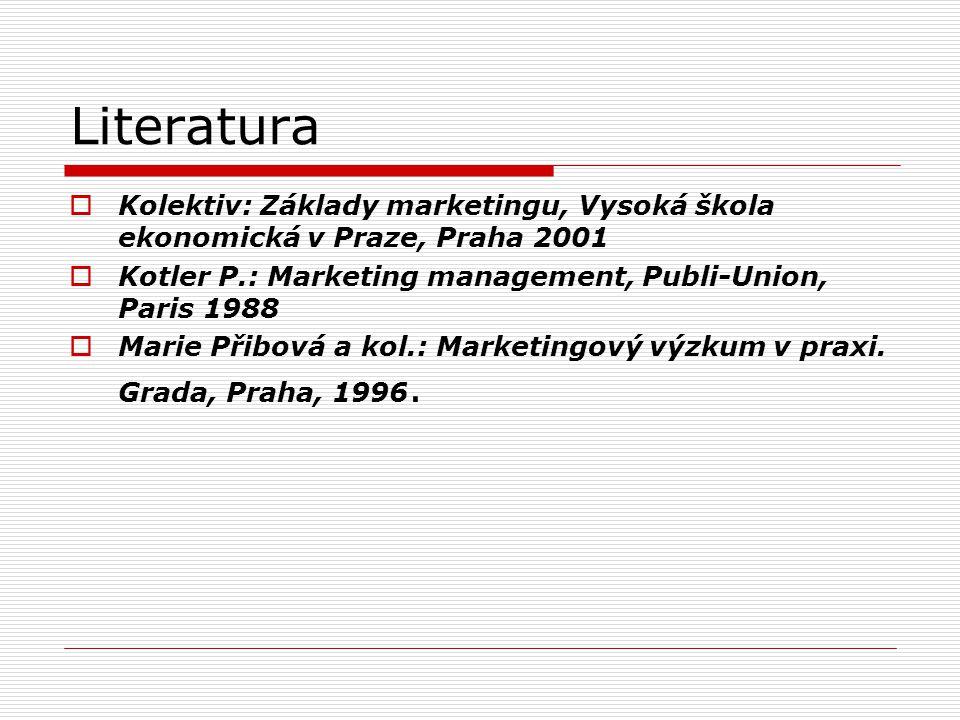 Literatura Kolektiv: Základy marketingu, Vysoká škola ekonomická v Praze, Praha 2001. Kotler P.: Marketing management, Publi-Union, Paris 1988.