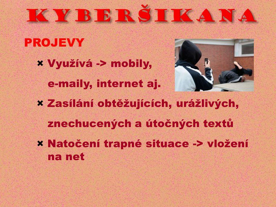 KYBERŠIKANA PROJEVY × Využívá -> mobily, e-maily, internet aj.