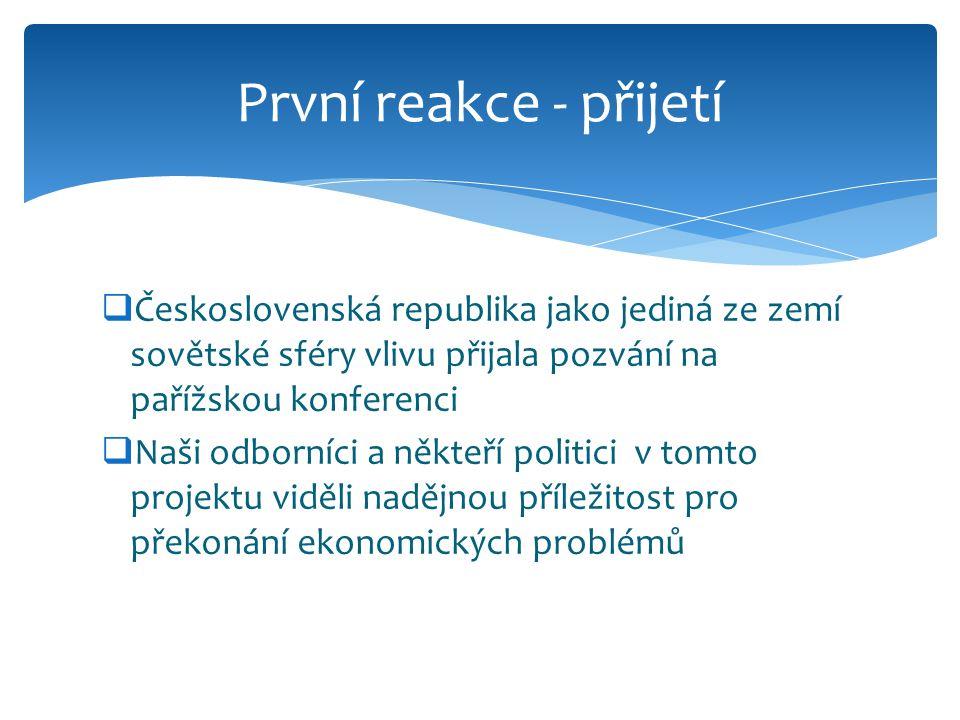 První reakce - přijetí Československá republika jako jediná ze zemí sovětské sféry vlivu přijala pozvání na pařížskou konferenci.