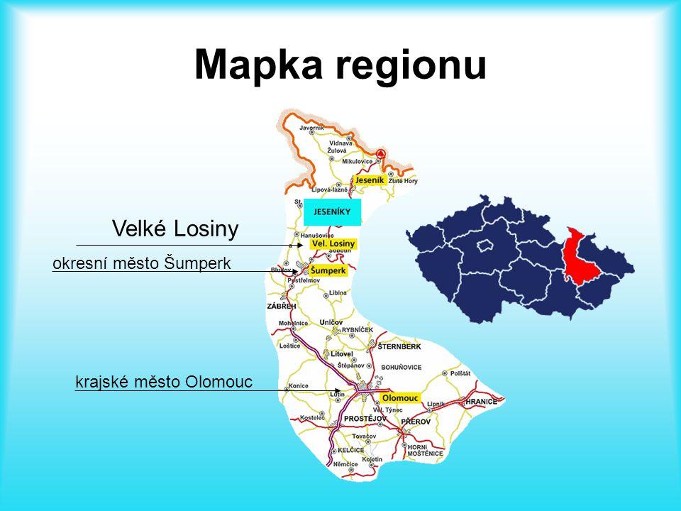 Mapka regionu Velké Losiny okresní město Šumperk krajské město Olomouc