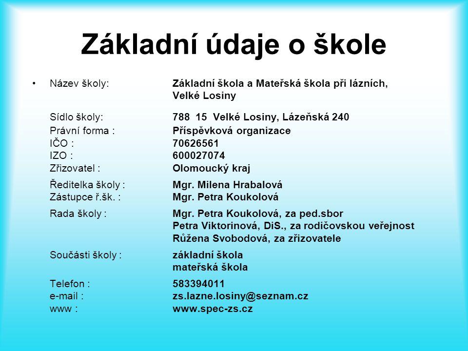 Základní údaje o škole Sídlo školy: 788 15 Velké Losiny, Lázeňská 240
