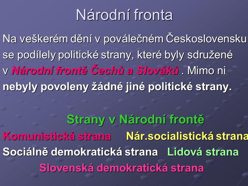 Národní fronta Na veškerém dění v poválečném Československu